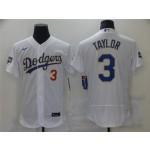 Los Angeles Dodgers #3 Chris Taylor White 2021 Gold Program Flex Base Jersey