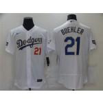 Los Angeles Dodgers #21 Walker Buehler White 2021 Gold Program Flex Base Jersey