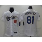 Los Angeles Dodgers #81 Victor Gonzalez White 2021 Gold Program Flex Base Jersey