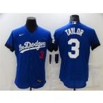 Los Angeles Dodgers #3 Chris Taylor Royal Blue 2021 City Connect Flex Base Jersey