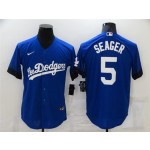 Los Angeles Dodgers #5 Corey Seager Royal Blue 2021 City Connect Cool Base Jersey