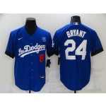 Los Angeles Dodgers #8-24 Kobe Bryant Royal Blue 2021 City Connect Cool Base Jersey with front of number