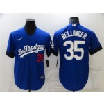 Los Angeles Dodgers #35 Cody Bellinger Royal Blue 2021 City Connect Cool Base Jersey with front of number
