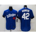 Los Angeles Dodgers #42 Jackie Robinson Royal Blue 2021 City Connect Flex Base Jersey