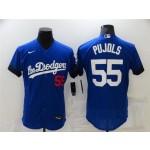 Los Angeles Dodgers #55 Albert Pujols Royal Blue 2021 City Connect Flex Base Jersey