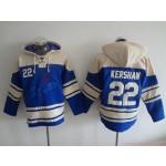 MLB Los Angeles Dodgers #22 Clayton Kershaw Blue All Stitched Hooded Sweatshirt