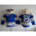 MLB Los Angeles Dodgers #23 Adrian Gonzalez Blue All Stitched Hooded Sweatshirt