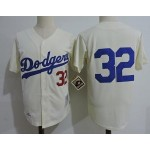 Men's throwback Los Angeles Dodgers #32 Sandy Koufax Cream Cooperstown Collection Jersey