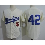 Men's throwback Los Angeles Dodgers #42 Jackie Robinson Cream Cooperstown Collection Jersey