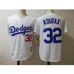 Men's throwback Los Angeles Dodgers #32 Sandy Koufax White 1958 Mitchell & Ness Jersey