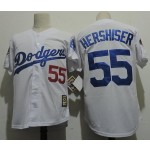 Men's throwback Los Angeles Dodgers #55 Orel Hershiser White 1988 Mitchell & Ness Jersey