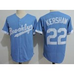 Men's throwback Los Angeles Dodgers #22 Clayton Kershaw Sky Blue Cooperstown Collection Jersey