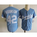 Men's throwback Los Angeles Dodgers #42 Jackie Robinson Sky Blue Cooperstown Collection Jersey