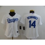 Women Los Angeles Dodgers #14 Kike Hernandez White 2020 Nike Cool Base Jersey