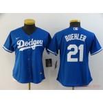 Women Los Angeles Dodgers #21 Walker Buehler Royal blue 2020 Nike Cool Base Jersey