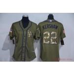 Women Los Angeles Dodgers #22 Clayton Kershaw Olive 2020 Nike Cool Base Jersey