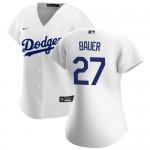 Women's Los Angeles Dodgers #27 Trevor Bauer White Jersey