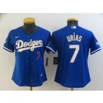 Women Dodgers #7 Julio Urias Royal Blue Women Nike Cool Base Jersey