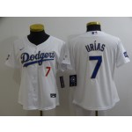 Women Dodgers #7 Julio Urias White Women Nike 2021 Gold Program Cool Base Jersey