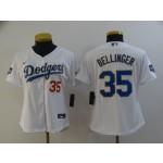 Women Dodgers #35 Cody Bellinger White Women Nike 2021 Gold Program Cool Base Jersey