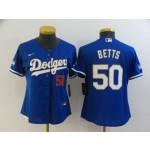 Women Dodgers #50 Mookie Betts Royal blue Women Nike 2021 Gold Program Cool Base Jersey