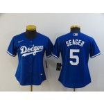 Women's Dodgers #5 Corey Seager Royal blue Jersey