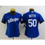 Women's Los Angeles Dodgers #50 Mookie Betts Royal Blue 2021 City Connect Cool Base Jersey