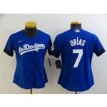 Women's Los Angeles Dodgers #7 Julio Urias  Royal Blue 2021 City Connect Cool Base Jersey