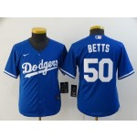 Youth Los Angeles Dodgers #50 Mookie Betts Royal blue 2020 Nike Cool Base Jersey