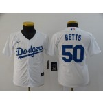 Youth Los Angeles Dodgers #50 Mookie Betts White 2020 Nike Cool Base Jersey
