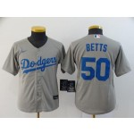 Youth Los Angeles Dodgers #50 Mookie Betts Grey 2020 Nike Cool Base Jersey