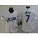 Youth Dodgers #7 Julio Urias White 2021 Gold Program Replica Jersey