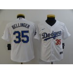Youth Dodgers #35 Cody Bellinger White Youth Nike 2021 Gold Program Cool Base Jersey