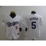 Youth Los Angeles Dodgers #5 Corey Seager Nike White Gold 2021 Gold Program Player Jersey