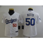 Youth Los Angeles Dodgers #50 Mookie Betts Nike White Gold 2021 Gold Program Player Jersey