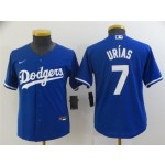 Youth Los Angeles Dodgers #7 Julio Urias Royal Blue Cool Base Jersey