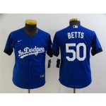 Youth Los Angeles Dodgers #50 Mookie Betts Royal Blue 2021 City Connect Cool Base Jersey