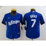 Youth Los Angeles Dodgers #7 Julio Urias Royal Blue 2021 City Connect Cool Base Jersey with front of number