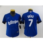Youth Los Angeles Dodgers #7 Julio Urias Royal Blue 2021 City Connect Cool Base Jersey
