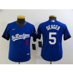 Youth Los Angeles Dodgers #5 Corey Seager Royal Blue 2021 City Connect Cool Base Jersey with front of number