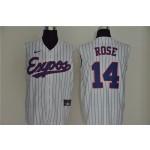 Montreal Expos #14 Pete Rose White Nike Cool Base Sleeveless Jersey