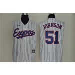Montreal Expos #51 Randy Johnson White Nike Cool Base Sleeveless Jersey