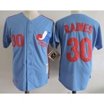 Men's Throwback Montreal Expos #30 Tim Raines Blue Cooperstown Collection MLB Jersey