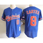 Men's Throwback Montreal Expos #8 Gary Carter Blue Cooperstown Collection Mesh Batting Practice Jersey