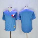 Men's Throwback Montreal Expos Blank Blue MLB Jersey