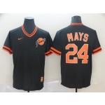 MLB San Francisco Giants #24 Willie Mays Black Nike Throwback Jersey