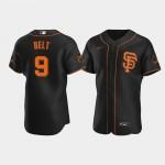 Men's San Francisco Giants #9 Brandon Belt Nike Black Alternate 2020 Authentic Player MLB Jersey