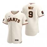 Men's San Francisco Giants #9 Brandon Belt Nike Cream Home 2020 Authentic Player MLB Jersey