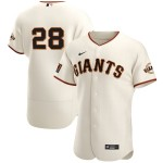 Men's San Francisco Giants #28 Buster Posey Nike Cream Home 2020 Authentic Player MLB Jersey