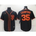 San Francisco Giants #35 Brandon Crawford Black Cool Base Jersey